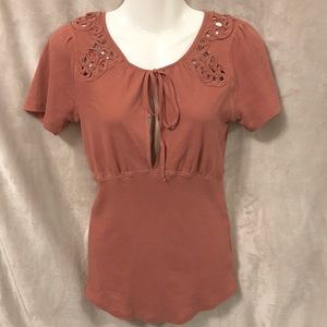 Free People Dusty Pink Short Sleeve Shirt, Medium